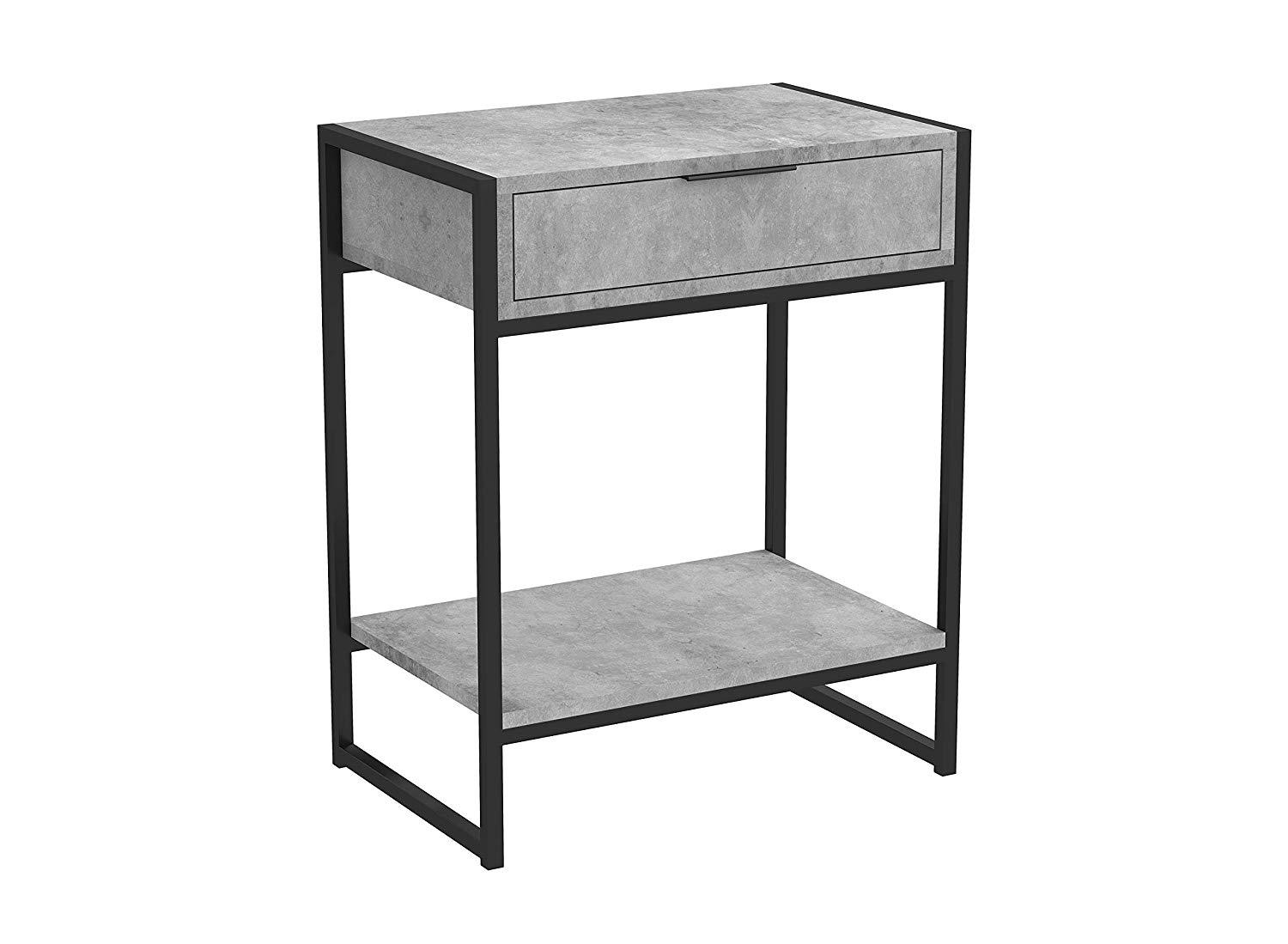 Night Table Grey Cement With Black Metal